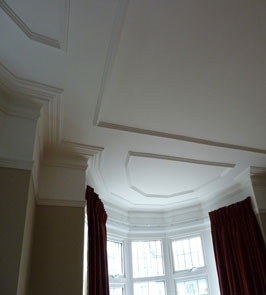 Large plain cornice and panel mould matched to existing and re-instated onto a new ceiling. Highgate Rd, Purley, CR8